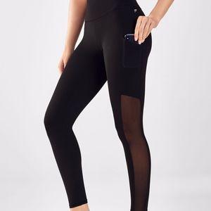 Fabletics Mila Leggings Solid Black Side Mesh